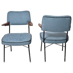 Midcentury Blue Fabric Armchairs, Hungary, 1960s