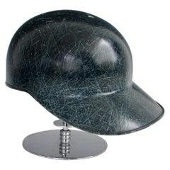 Mid Century Blue Fiberglass Batters Helmet by American Baseball Cap Co.