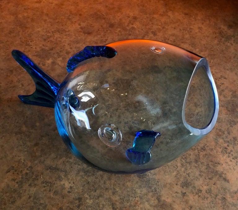 Mid-Century Modern Midcentury Blue Glass Fish Vase by Blenko For Sale