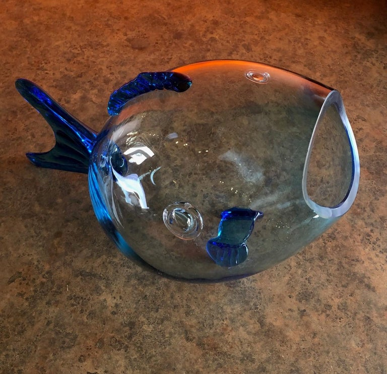 American Midcentury Blue Glass Fish Vase by Blenko For Sale