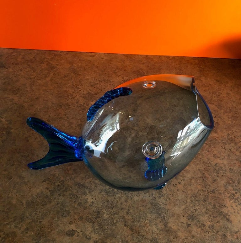20th Century Midcentury Blue Glass Fish Vase by Blenko For Sale