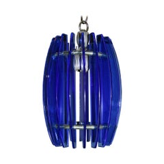 Mid Century Blue Glass Pendant Light Fixture