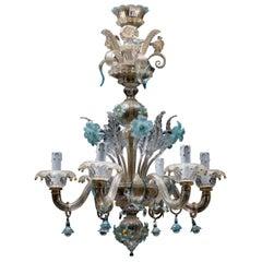 Mid-Century Blue Italian Murano Glass Chandelier from Venetia by Galliano Ferro