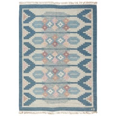 Midcentury Blue Swedish Flat-Weave Wool Rug Signed by Ingegerd Silow