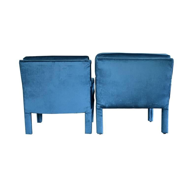 Mid-Century Modern Midcentury Blue Velvet Milo Baughman Style Parsons Open Arm Club Chairs For Sale