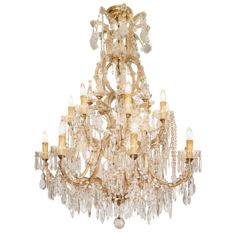 Mid-century Bohemian Marie Therese Baccarat Style 16 Light Crystal Chandelier For Sale