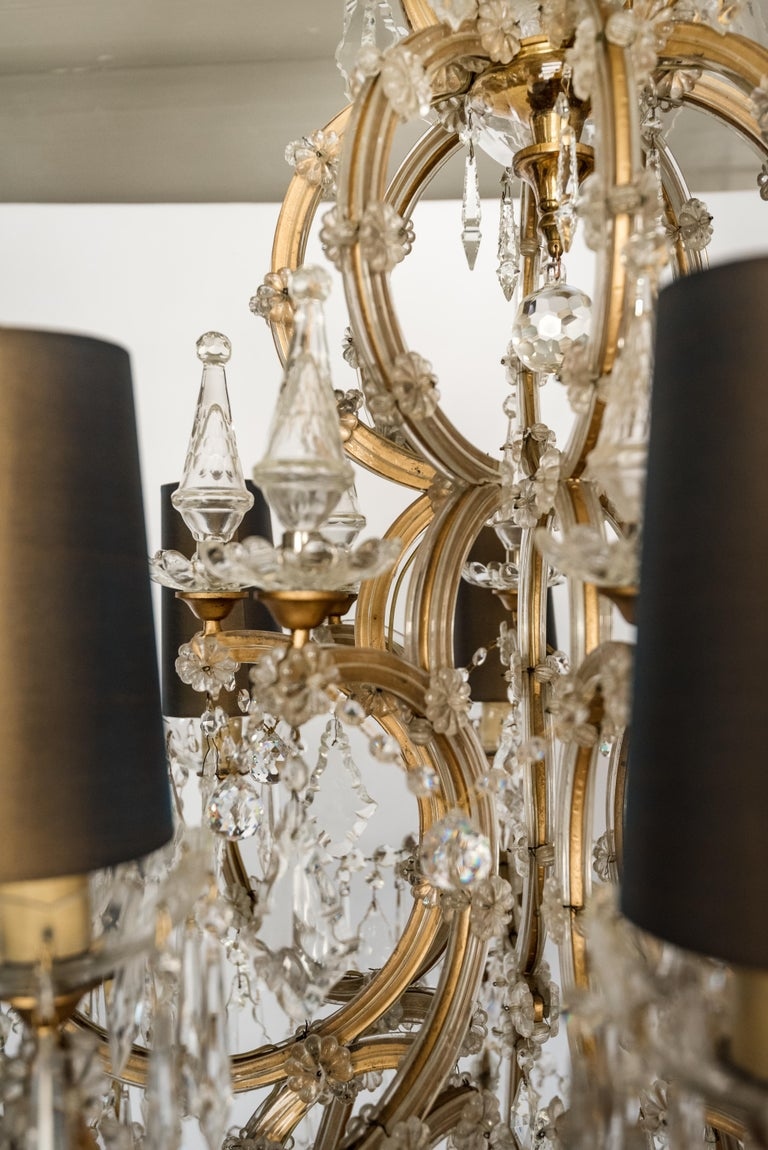 Italian Mid-century Bohemian Marie Therese Baccarat Style 16 Light Crystal Chandelier For Sale