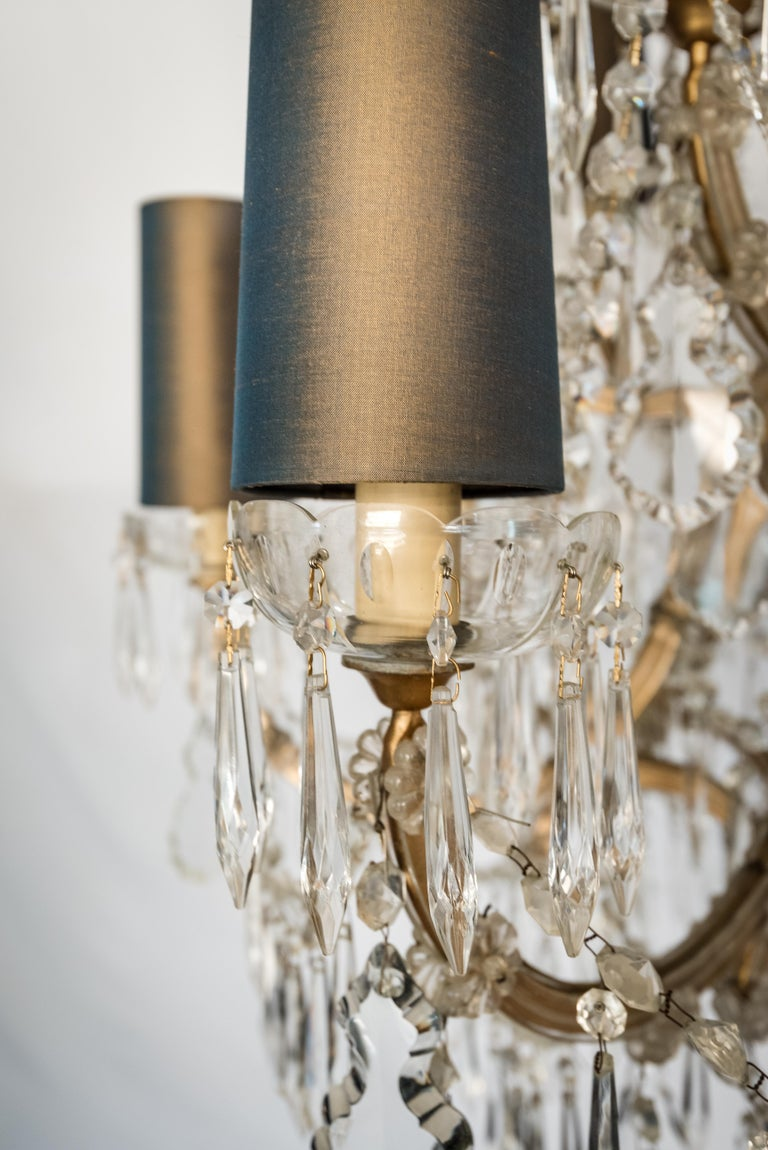 Faceted Mid-century Bohemian Marie Therese Baccarat Style 16 Light Crystal Chandelier For Sale