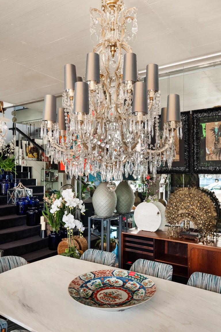 Mid-century Bohemian Marie Therese Baccarat Style 16 Light Crystal Chandelier In Good Condition For Sale In Porto, Porto