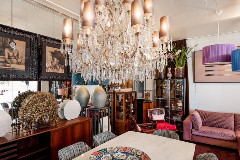 20th Century Mid-century Bohemian Marie Therese Baccarat Style 16 Light Crystal Chandelier For Sale