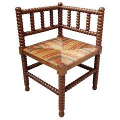 Mid-Century Boho Rustic Spanish Stool Sisal Weave