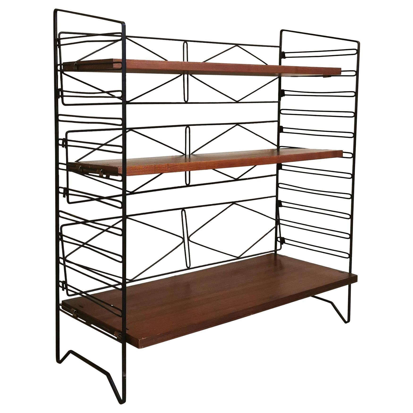 Mid Century Bookcase Teak Enameled Metal Italian Design, 1960s