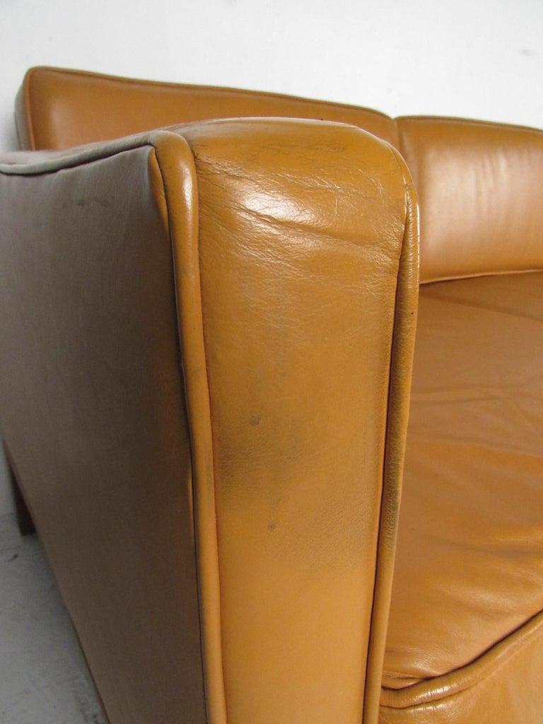 Midcentury Borge Mogensen Style Leather Sofa For Sale 7
