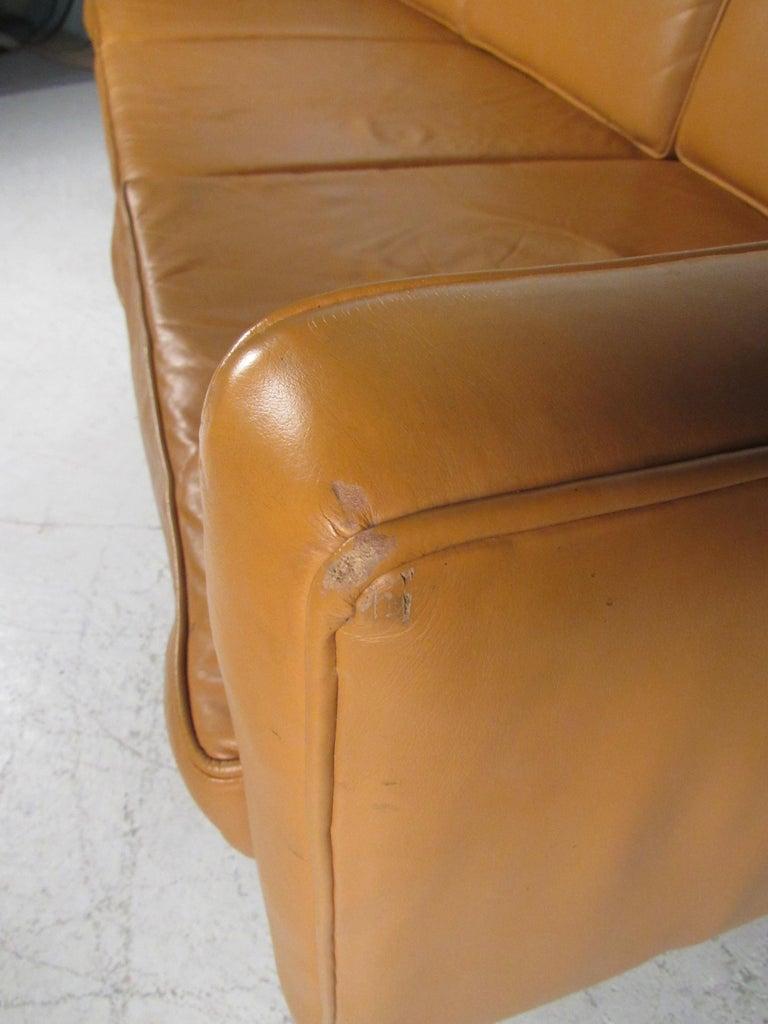 Midcentury Borge Mogensen Style Leather Sofa For Sale 10