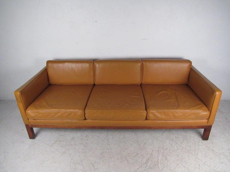 Mid-Century Modern Midcentury Borge Mogensen Style Leather Sofa For Sale