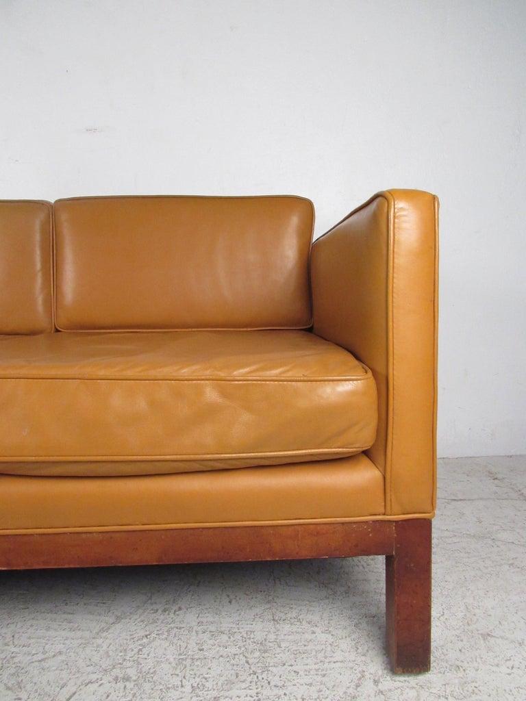Midcentury Borge Mogensen Style Leather Sofa For Sale 1
