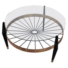 Midcentury Borsani Brass and Wood Round Coffee Table with Glass Top Italy, 1950s