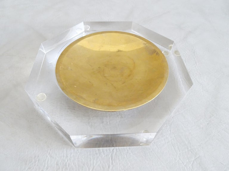 French Midcentury Bowl by Marc Micoud Acrylic Glass Lucite, Octagonal For Sale