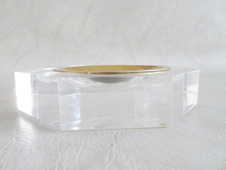 Faceted Midcentury Bowl by Marc Micoud Acrylic Glass Lucite, Octagonal For Sale