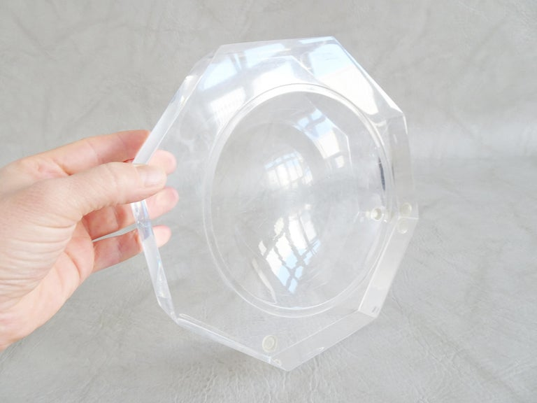 Late 20th Century Midcentury Bowl by Marc Micoud Acrylic Glass Lucite, Octagonal For Sale