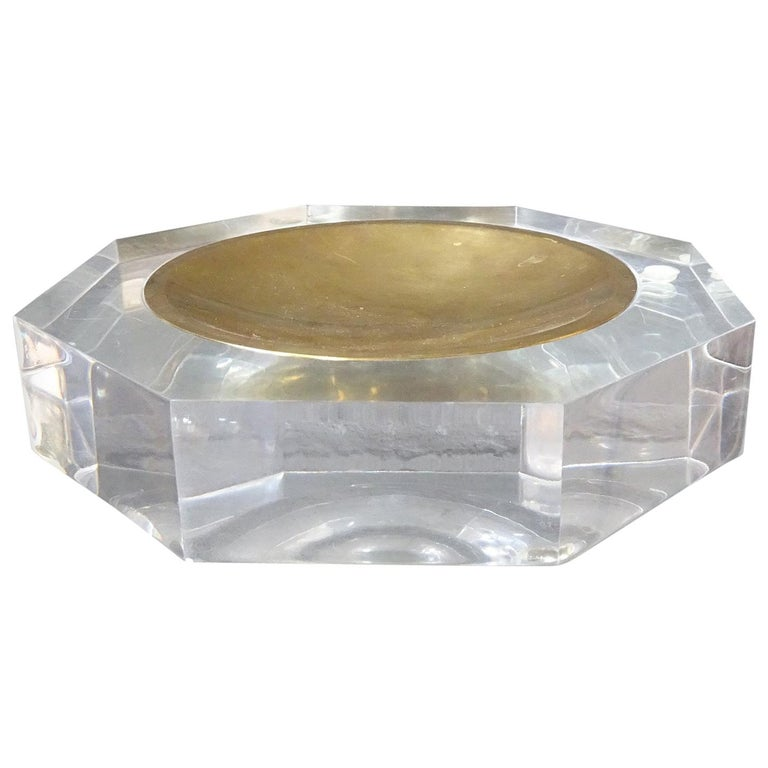 Midcentury Bowl by Marc Micoud Acrylic Glass Lucite, Octagonal For Sale