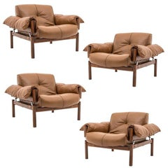 Midcentury Brasilian Lounge Chairs in Lether and Rosewood by Percival Lafér