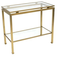 Midcentury Brass & Glass Rectangular Side Table by Guy Lefevre, circa 1960-1970