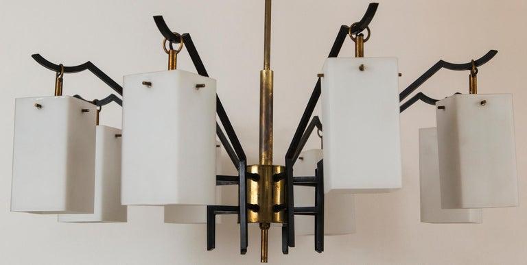 Mid-Century Brass 8-Light Chandelier attributed to Stilnovo, circa 1955 In Good Condition For Sale In Westport, CT