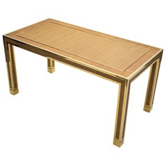 Midcentury Brass and Bamboo Dining Table, 1970s