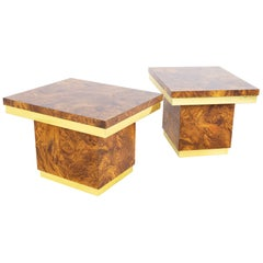 Mid Century Brass and Burlwood Formica Side End Tables - a Pair