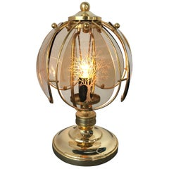 Mid-Century Brass and Etched Glass Table Lamp from Wortmann & Filz, 1950s