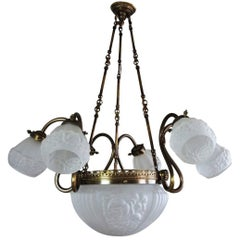 Midcentury Brass and Frosted Glass Large Nine-Light Chandelier