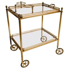Midcentury Brass and Glass Bar Cart