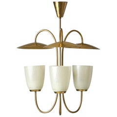 Mid-Century Brass and Glass Ceiling Lamp, Scandinavia, 1950s