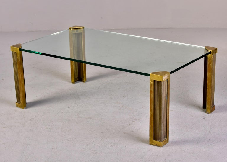 Mid Century Brass and Glass Coffee Table Designed by Peter Ghyczy For Sale 4