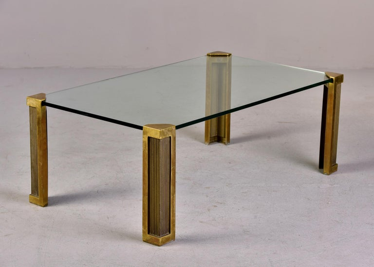 Mid Century Brass and Glass Coffee Table Designed by Peter Ghyczy For Sale 6
