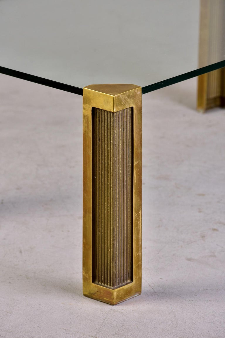 Mid Century Brass and Glass Coffee Table Designed by Peter Ghyczy For Sale 7