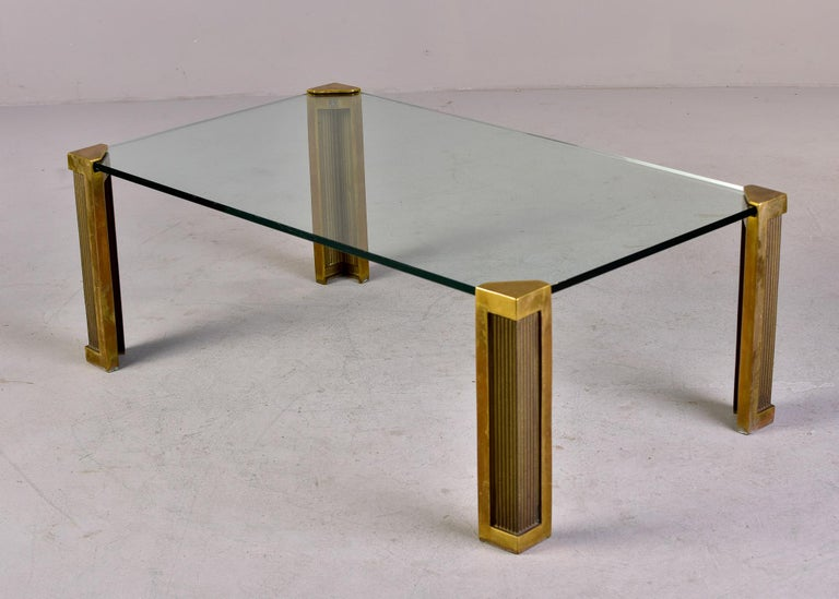 Mid Century Brass and Glass Coffee Table Designed by Peter Ghyczy In Good Condition For Sale In Troy, MI