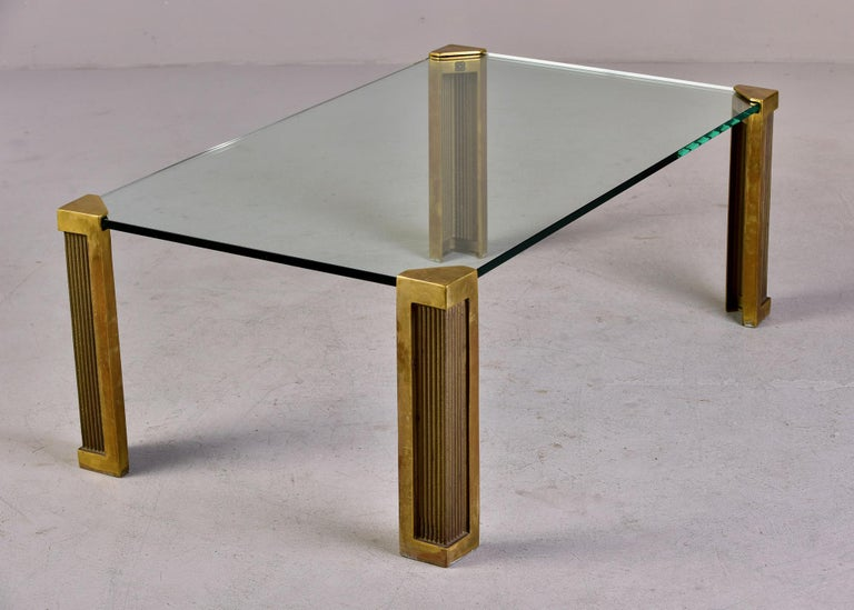 Mid Century Brass and Glass Coffee Table Designed by Peter Ghyczy For Sale 2