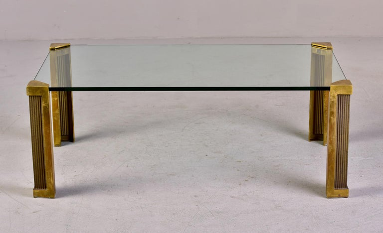 Mid Century Brass and Glass Coffee Table Designed by Peter Ghyczy For Sale 3