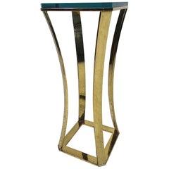 Midcentury Brass and Glass Display Pedestal