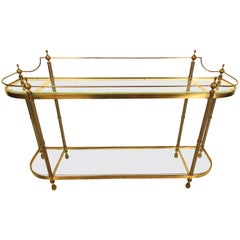 Midcentury Brass and Glass Sofa Table