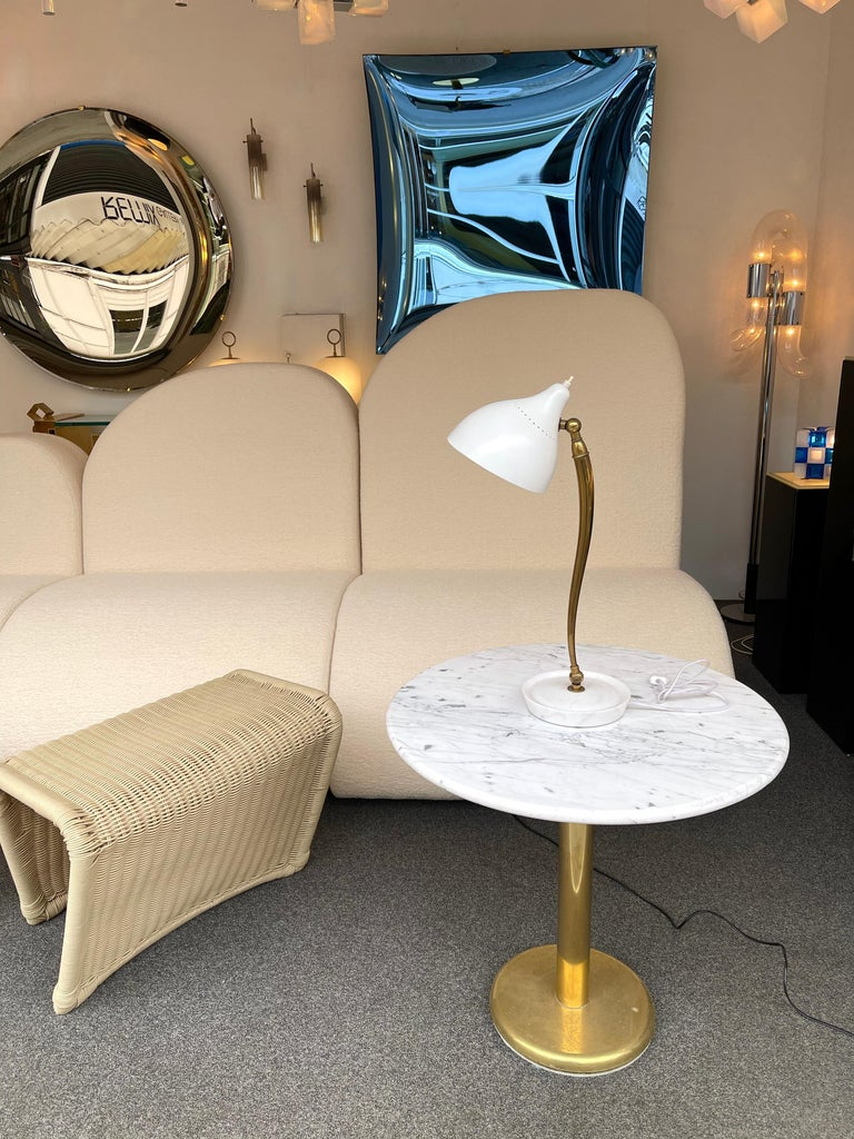 Mid Century Brass and Lacquered Metal Lamp by Stilnovo, Italy, 1950s For Sale 4