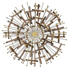 Mid-Century Brass and Metal Wall Sculpture in the Manner of C.Jere, circa 1970
