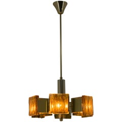 Midcentury Brass and Resin Chandelier, Hungary, 1970s