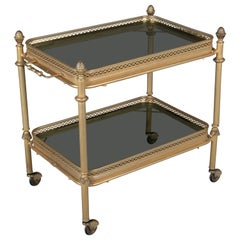 Midcentury Brass and Smoke Glass Bar Cart