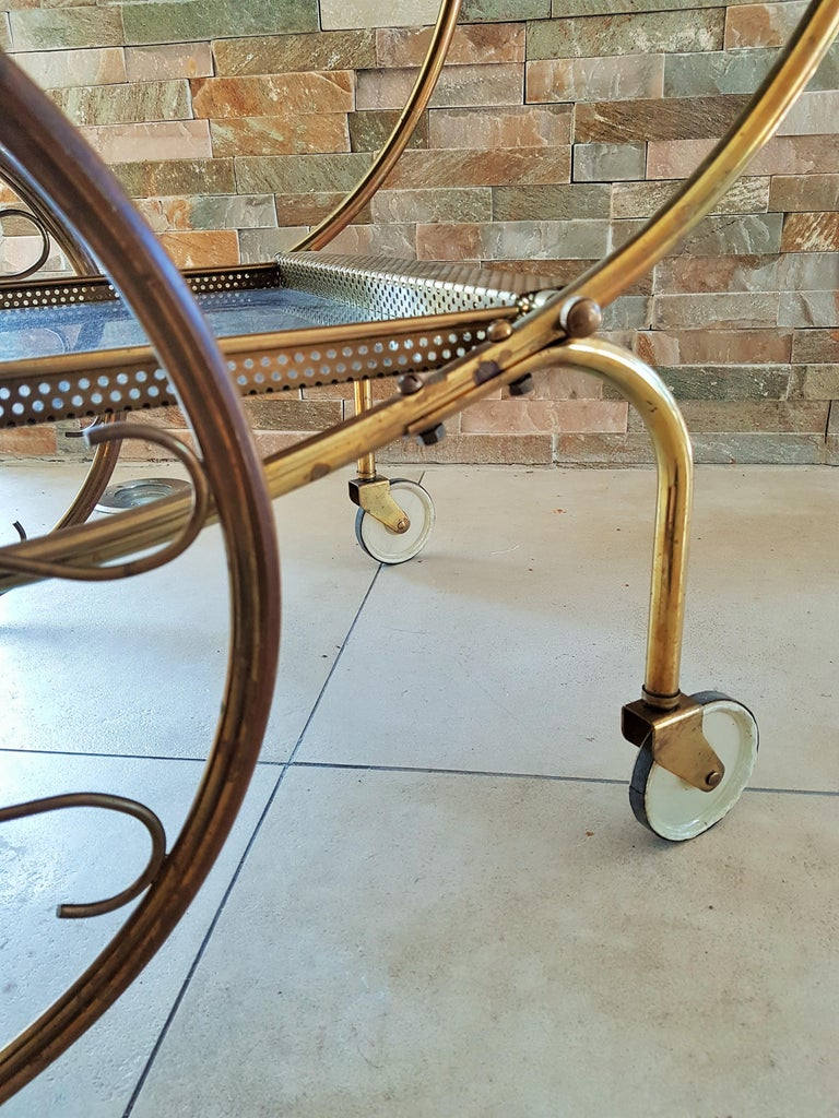 Midcentury Brass Bar Cart by Josef Frank for Svenskt Tenn, Sweden, 1950s For Sale 3