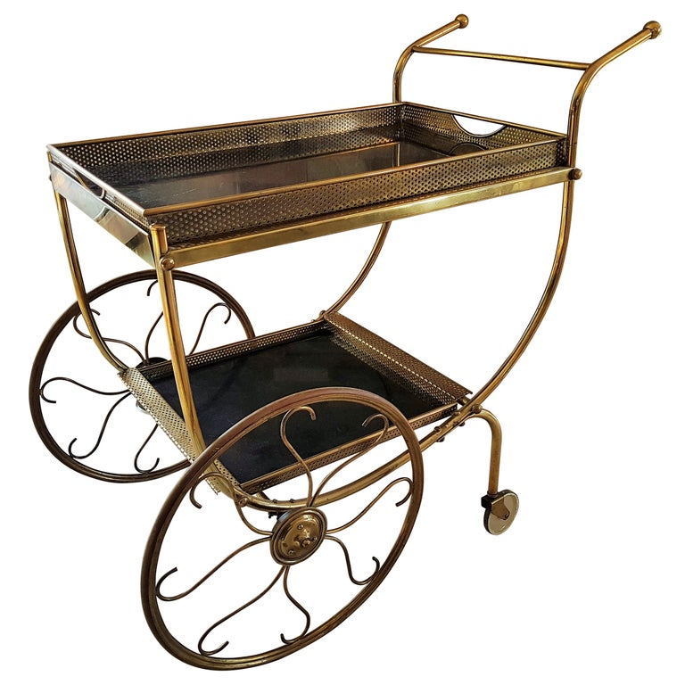 Midcentury Brass Bar Cart by Josef Frank for Svenskt Tenn, Sweden, 1950s For Sale