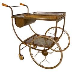 Mid-Century Brass Bar Cart by Josef Frank for Svenskt Tenn, Sweden, Around 1949