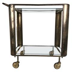 Midcentury Brass Bar Cart with Glass Shelves